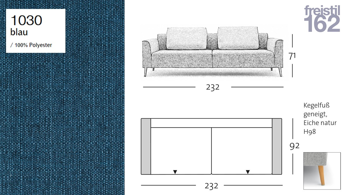 freistil 162 Sofabank - 232 cm Breite - im Bezug #1030 blau
