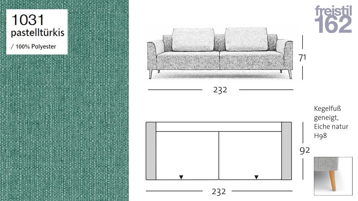 freistil 162 Sofabank - 232 cm Breite - im Bezug #1031 pastelltürkis