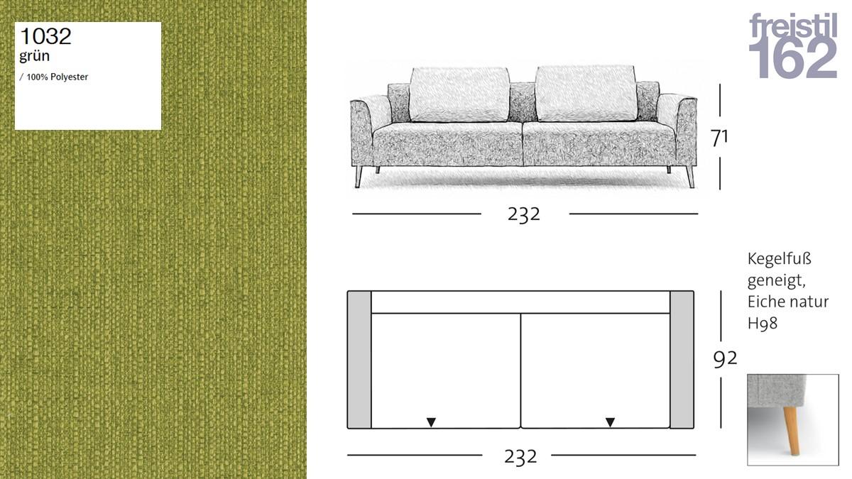 freistil 162 Sofabank - 232 cm Breite - im Bezug #1032 grün