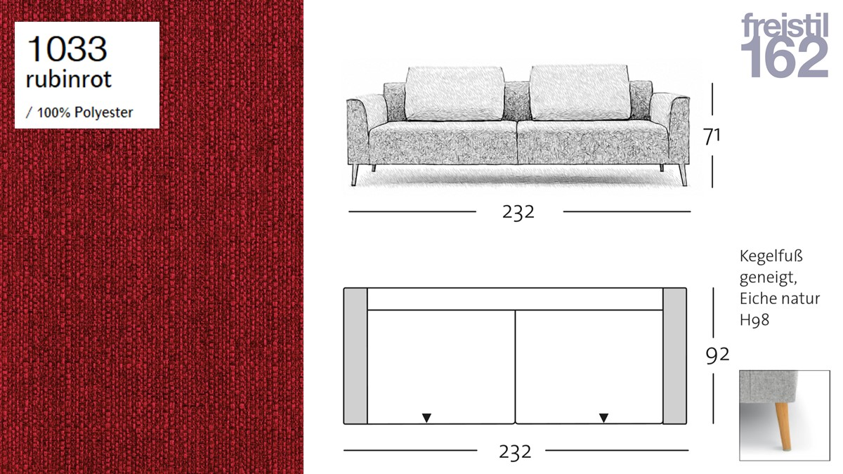 freistil 162 Sofabank - 232 cm Breite - im Bezug #1033 rubinrot