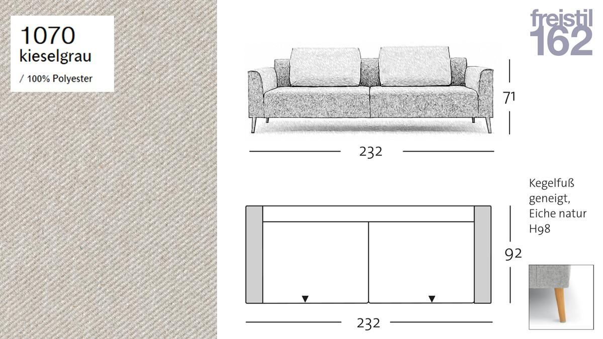 freistil 162 Sofabank - 232 cm Breite - im Bezug #1070 kieselgrau