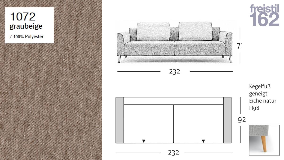 freistil 162 Sofabank - 232 cm Breite - im Bezug #1072 graubeige