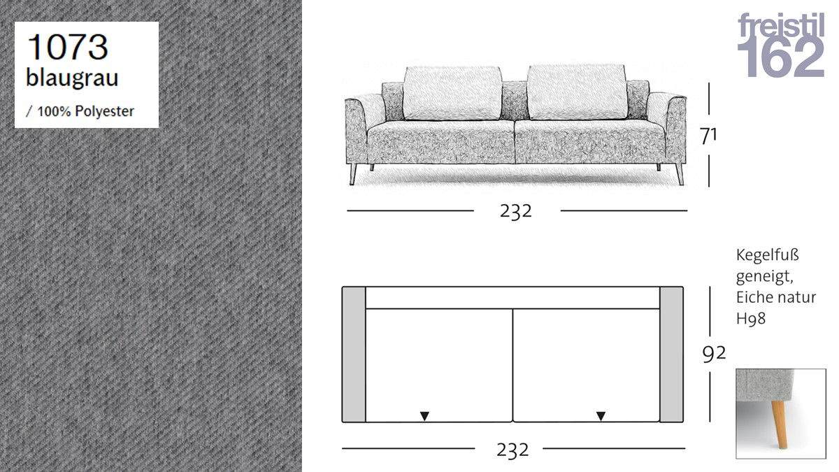 freistil 162 Sofabank - 232 cm Breite - im Bezug #1073 blaugrau