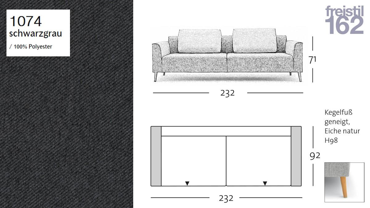 freistil 162 Sofabank - 232 cm Breite - im Bezug #1074 schwarzgrau
