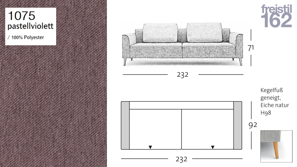 freistil 162 Sofabank - 232 cm Breite - im Bezug #1075 pastellviolett