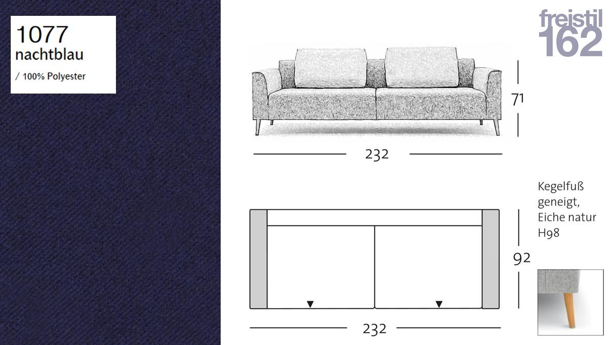 freistil 162 Sofabank - 232 cm Breite - im Bezug #1077 nachtblau