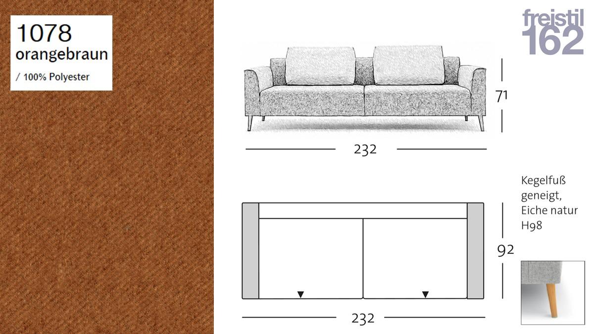 freistil 162 Sofabank - 232 cm Breite - im Bezug #1078 orangebraun