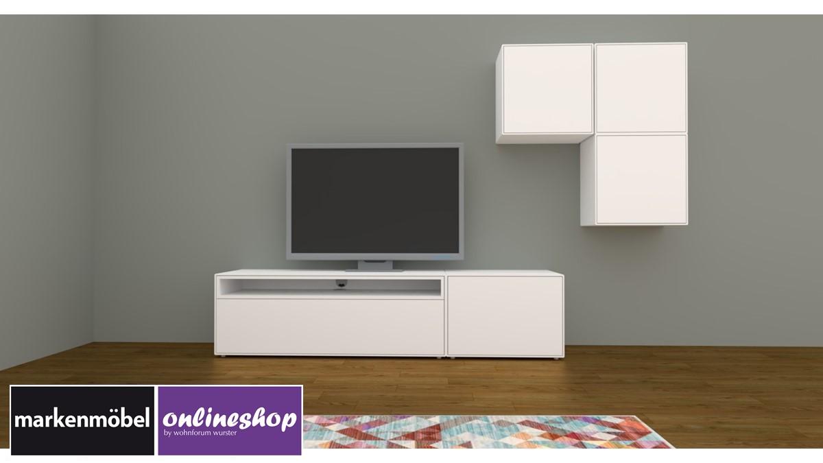 hülsta NOW! EASY Wohnwand mit 3 Design-Boxen - Akzent Lack-reinweiss
