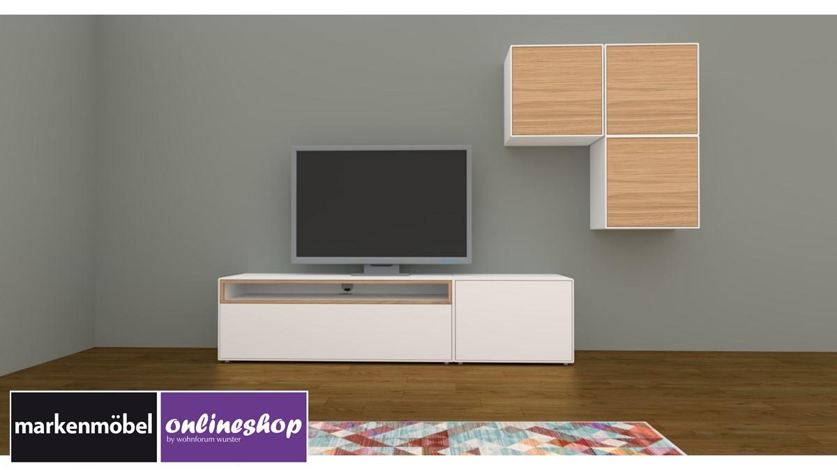hülsta NOW! EASY Wohnwand mit 3 Design-Boxen - Akzent Natureiche