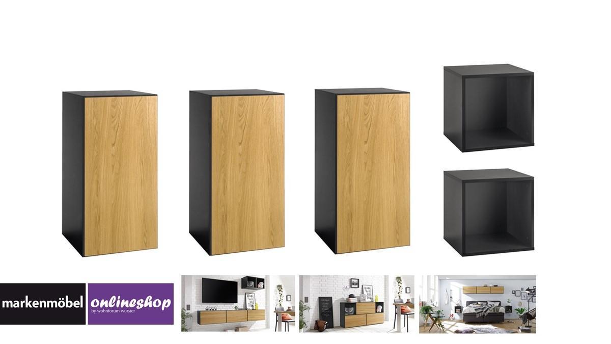 NOW! TO GO Sideboard mit 5 Boxen in Ausführung Front Natureiche und Korpus Schiefergrau
