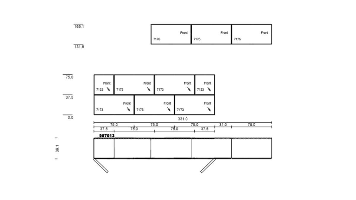 Technische Zeichnung zur NOW! TO GO Kombination mit 10 Boxen
