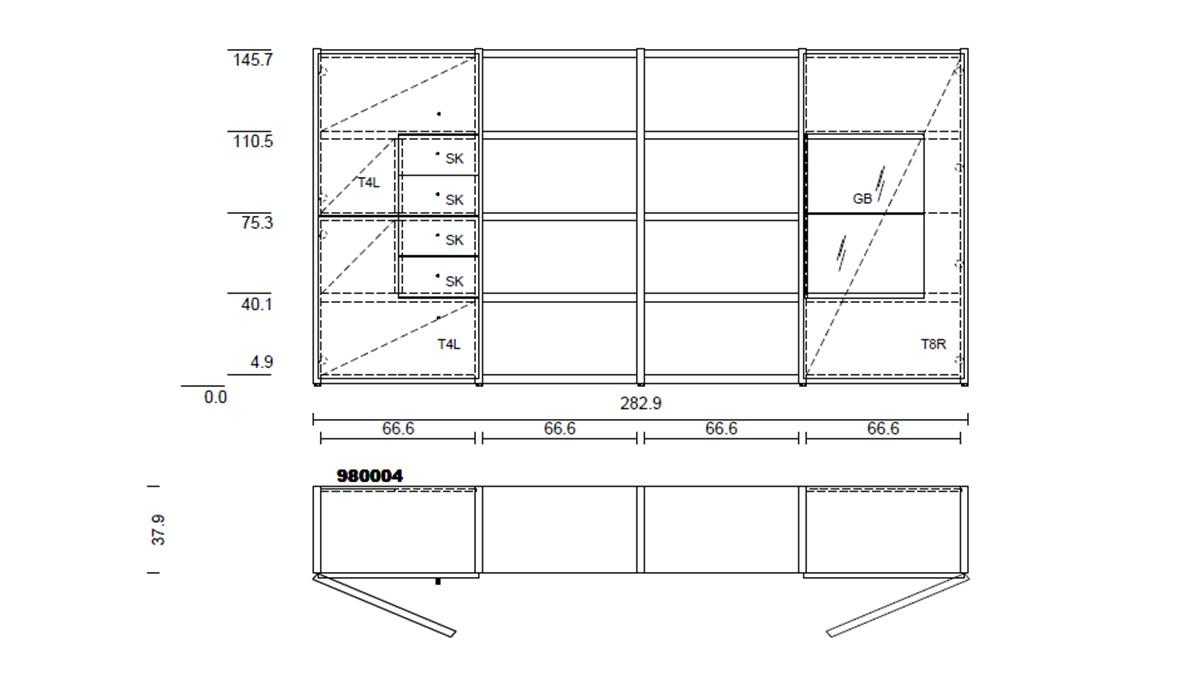 hülsta NOW! TIME Vorschlagskombination #980004 - technische Zeichnung mit Maßen