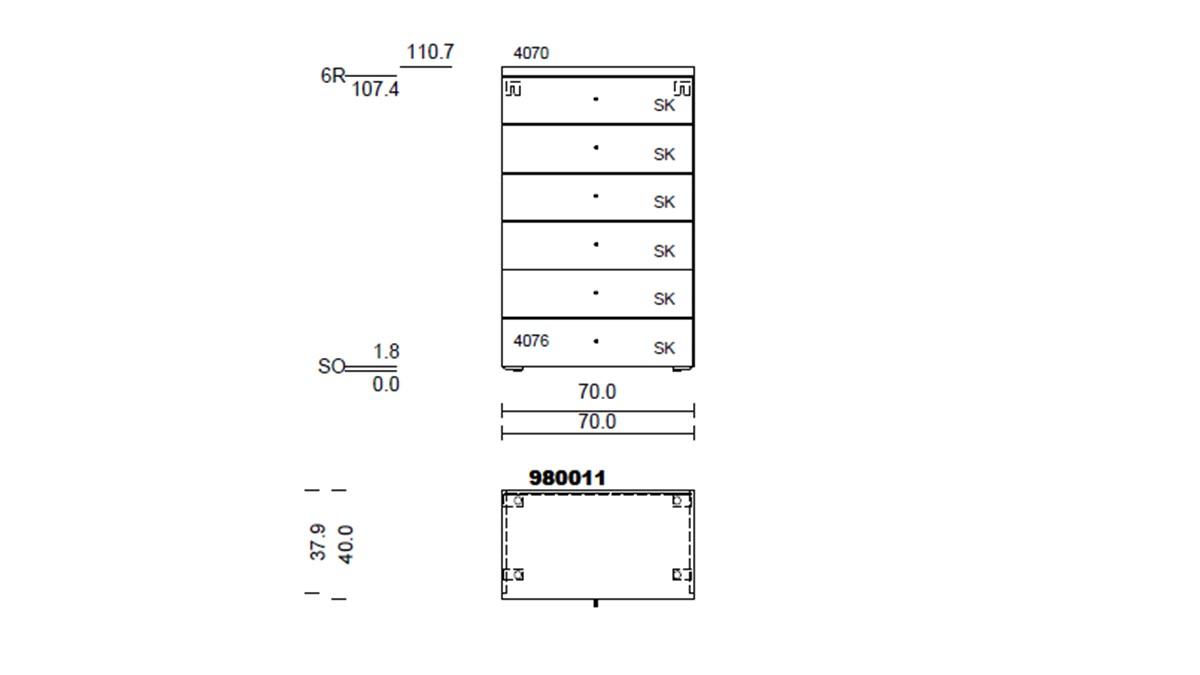 hülsta NOW! TIME Vorschlagskombination #980011 - technische Zeichnung mit Maßen