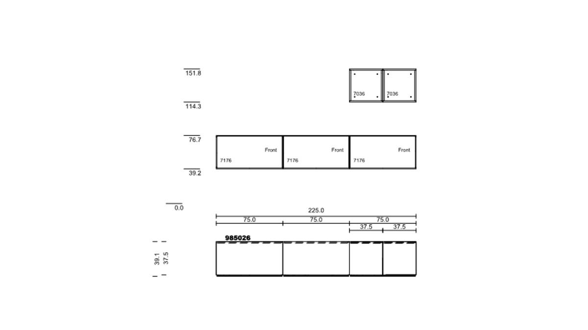 hülsta NOW! TO GO Wohnwand #985026 - technische Zeichnung mit Maßen