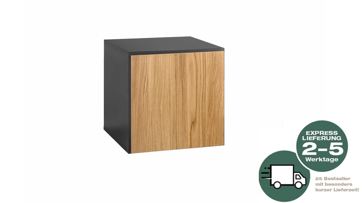 NOW! 25 to go Box geschlossen quadratisch - Natureiche und Schiefergrau