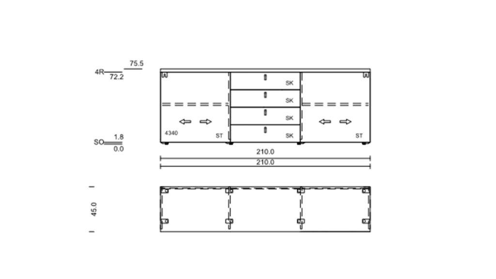 Technische Zeichnung zum NOW! TIME Sideboard