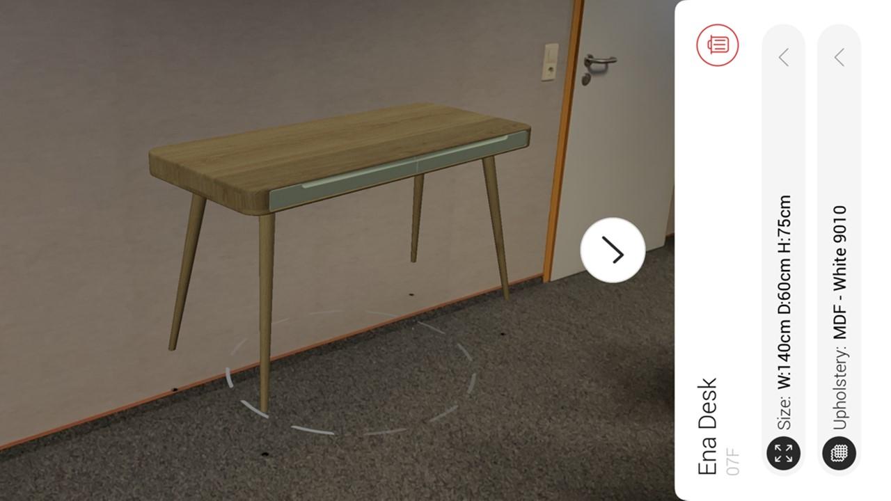 Mit der GAZZDA Augmented Reality App kannst Du jetzt schon herausfinden, wie dieser GAZZDA ENA Schreibtisch bei Dir zuhause aussehen wird.