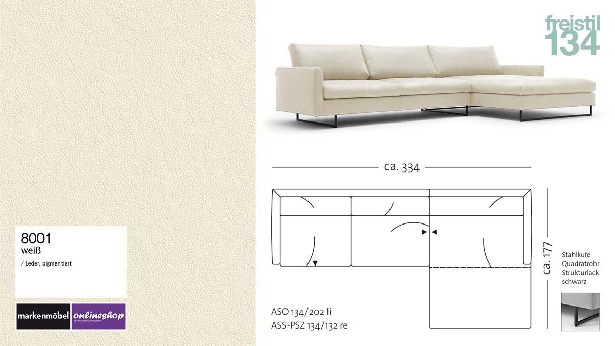 #8001 Leder weiß, freistil 134 Sofa mit Longchair rechts, Breite ca 334 cm, Sofa auf Stahlkufen