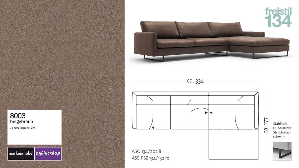 #8003 beigebraun Leder, freistil 134 Sofa mit Longchair rechts, Breite ca 334 cm, Sofa auf Stahlkufen