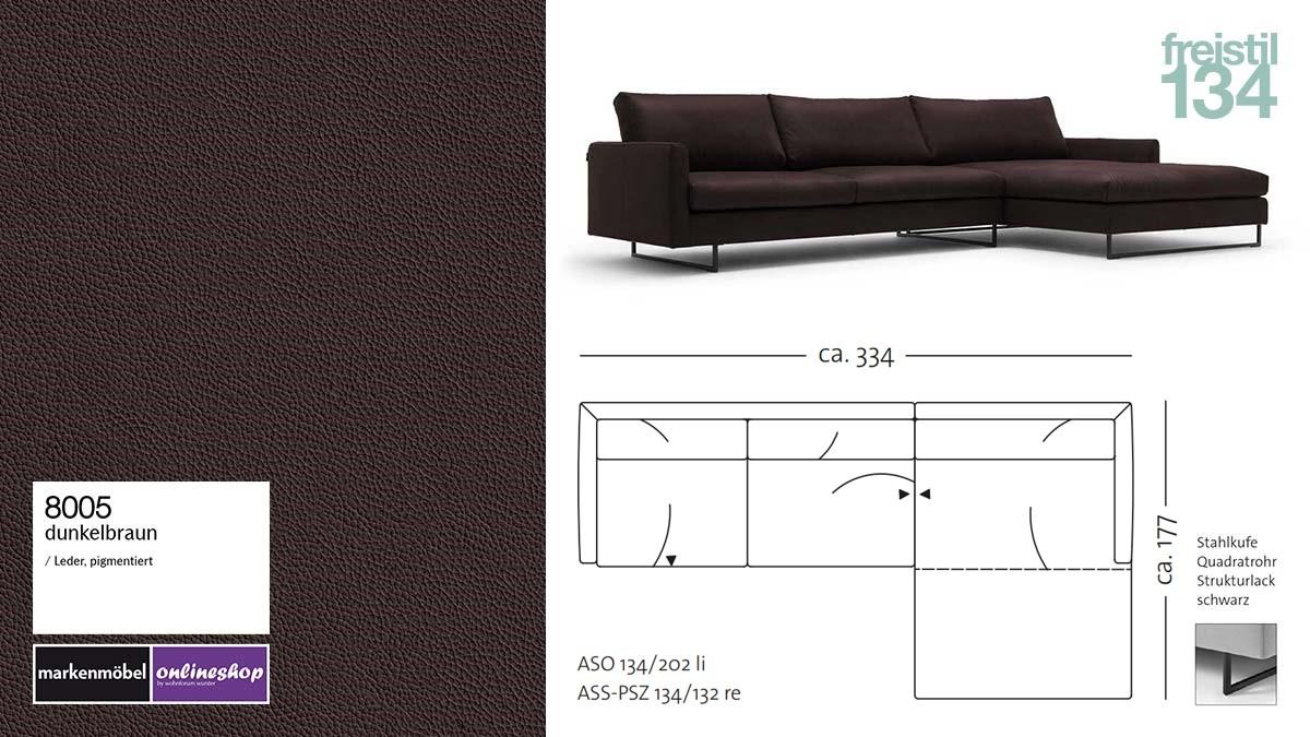 #8005 dunkelbraun Leder, #8001 Leder weiß, freistil 134 Sofa mit Longchair rechts, Breite ca 334 cm, Sofa auf Stahlkufen