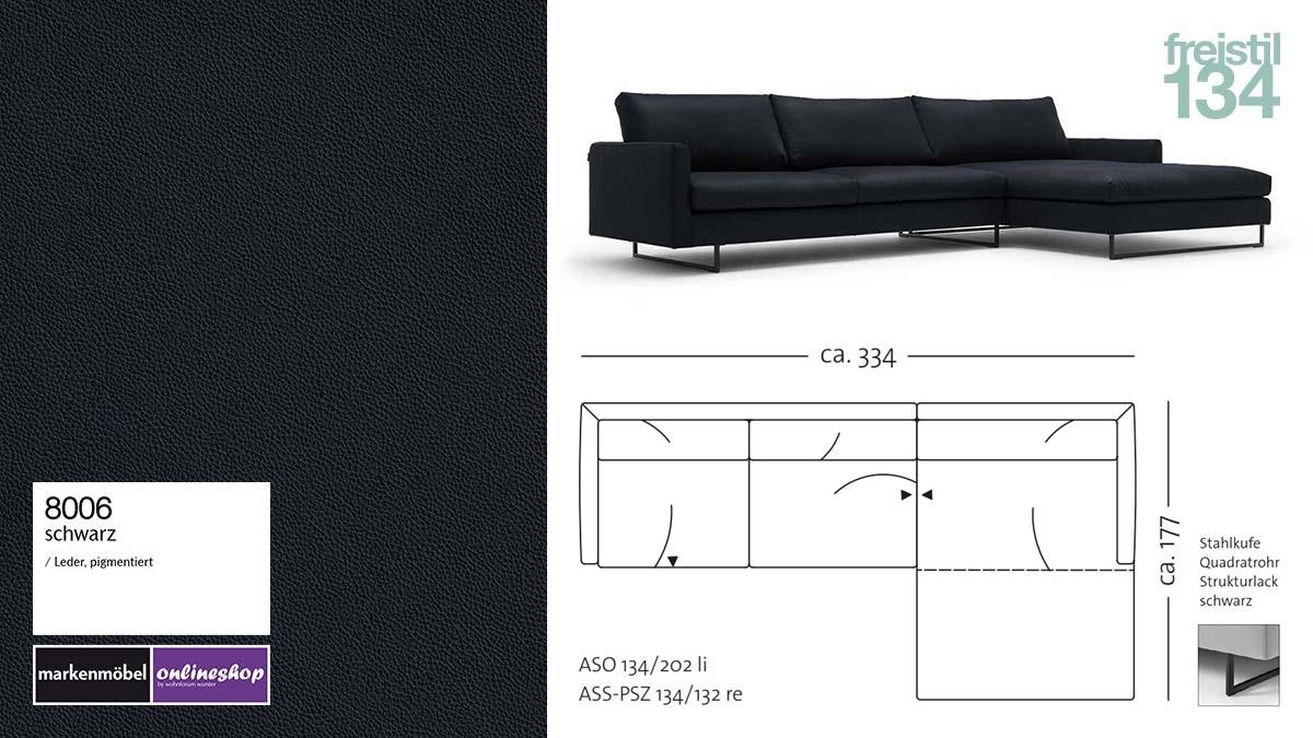 #8006 schwarz, freistil 134 Sofa mit Longchair rechts, Breite ca 334 cm, Sofa auf Stahlkufen
