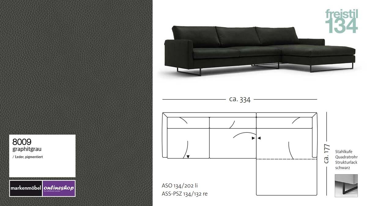 #8009 graphitgrau Leder, freistil 134 Sofa mit Longchair rechts, Breite ca 334 cm, Sofa auf Stahlkufen