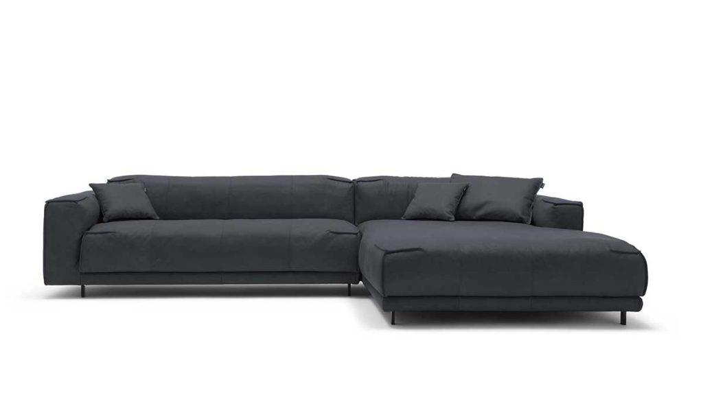 #9222 schwarzgrau Leder leicht angeschliffen - Nubuk-Effekt - freistil 136 Sofa mit Longchair rechts