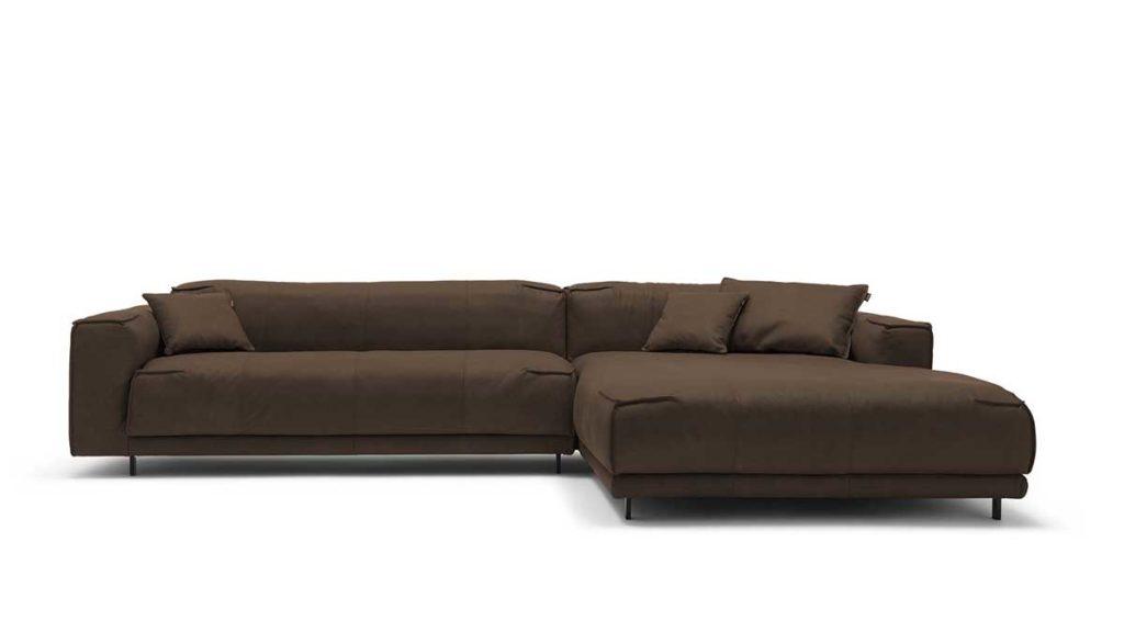 #9225 braungrau Leder leicht angeschliffen - Nubuk-Effekt - freistil 136 Sofa mit Longchair rechts
