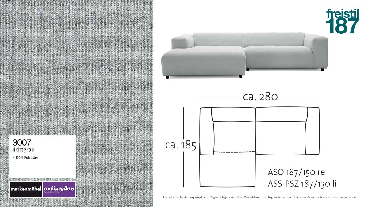 #3007 lichtgrau - freistil187 ROLF BENZ Sofa mit Longchair links