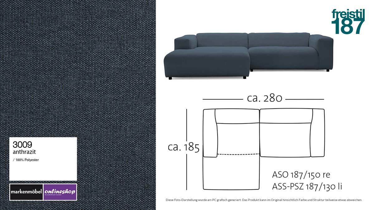 #3009 anthrazit - freistil187 ROLF BENZ Sofa mit Longchair links