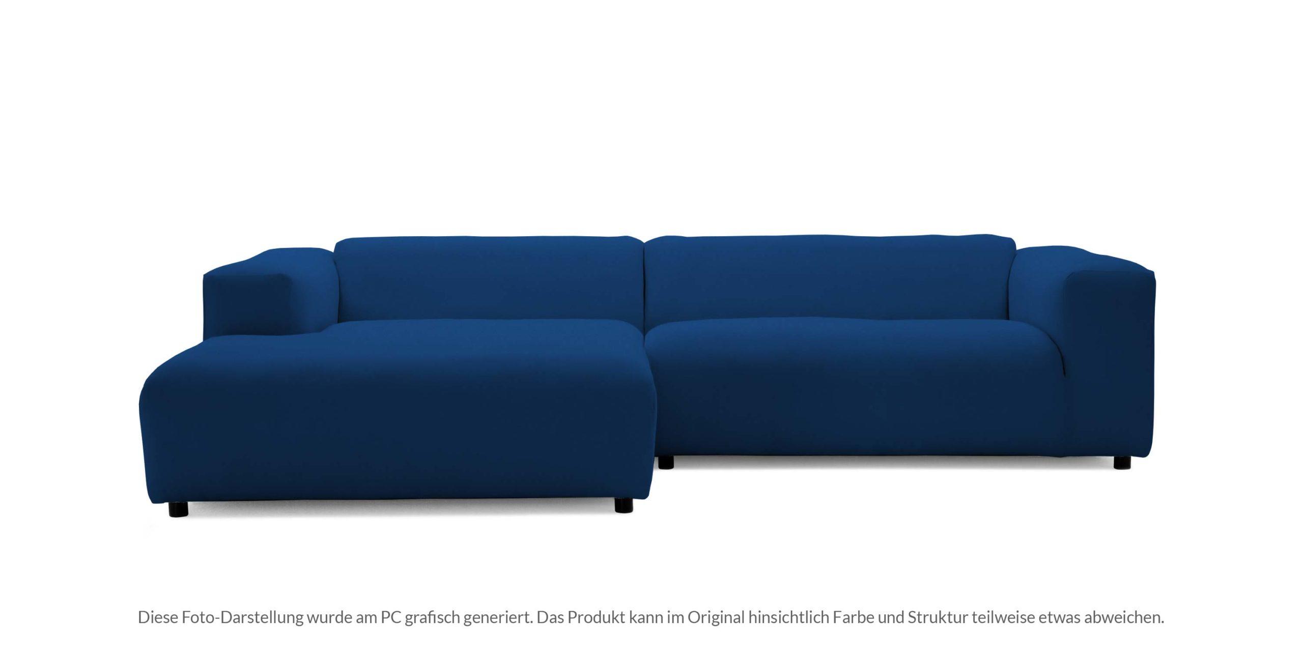 #3013 stahlblau, freistil187 ROLF BENZ Sofa mit Longchair links