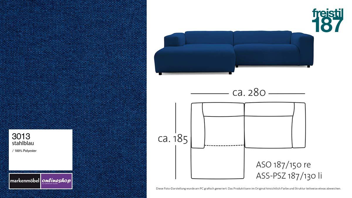 #3013 stahlblau - freistil187 ROLF BENZ Sofa mit Longchair links