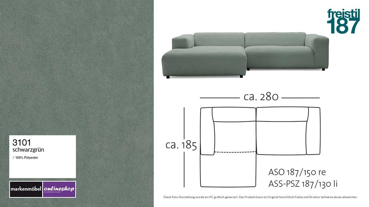 #3101 schwarzgrün - freistil187 ROLF BENZ Sofa mit Longchair links