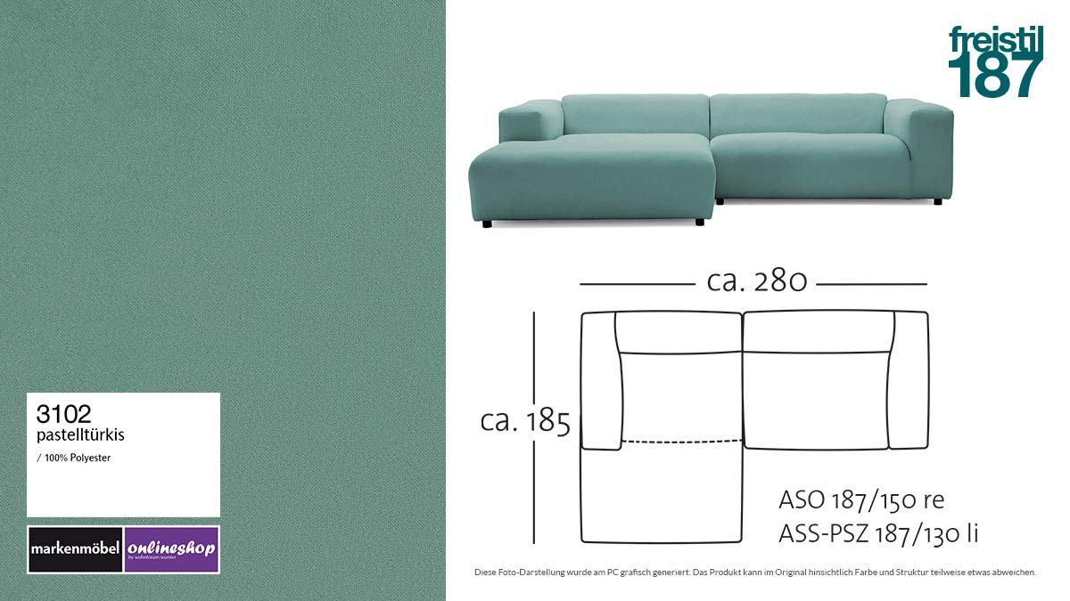 #3102 pastelltürkis - freistil187 ROLF BENZ Sofa mit Longchair links