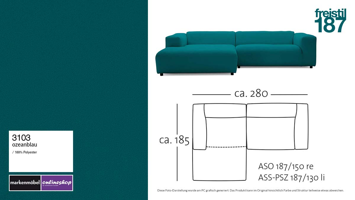 #3103 ozeanblau - freistil187 ROLF BENZ Sofa mit Longchair links