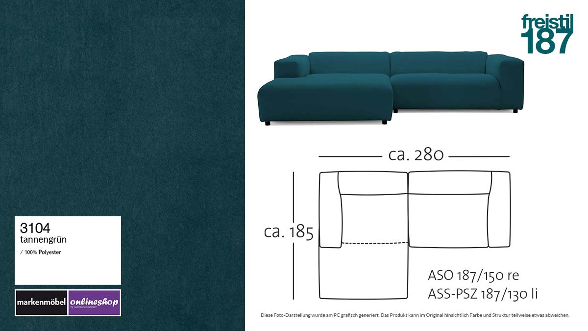 #3104 tannengrün - freistil187 ROLF BENZ Sofa mit Longchair links