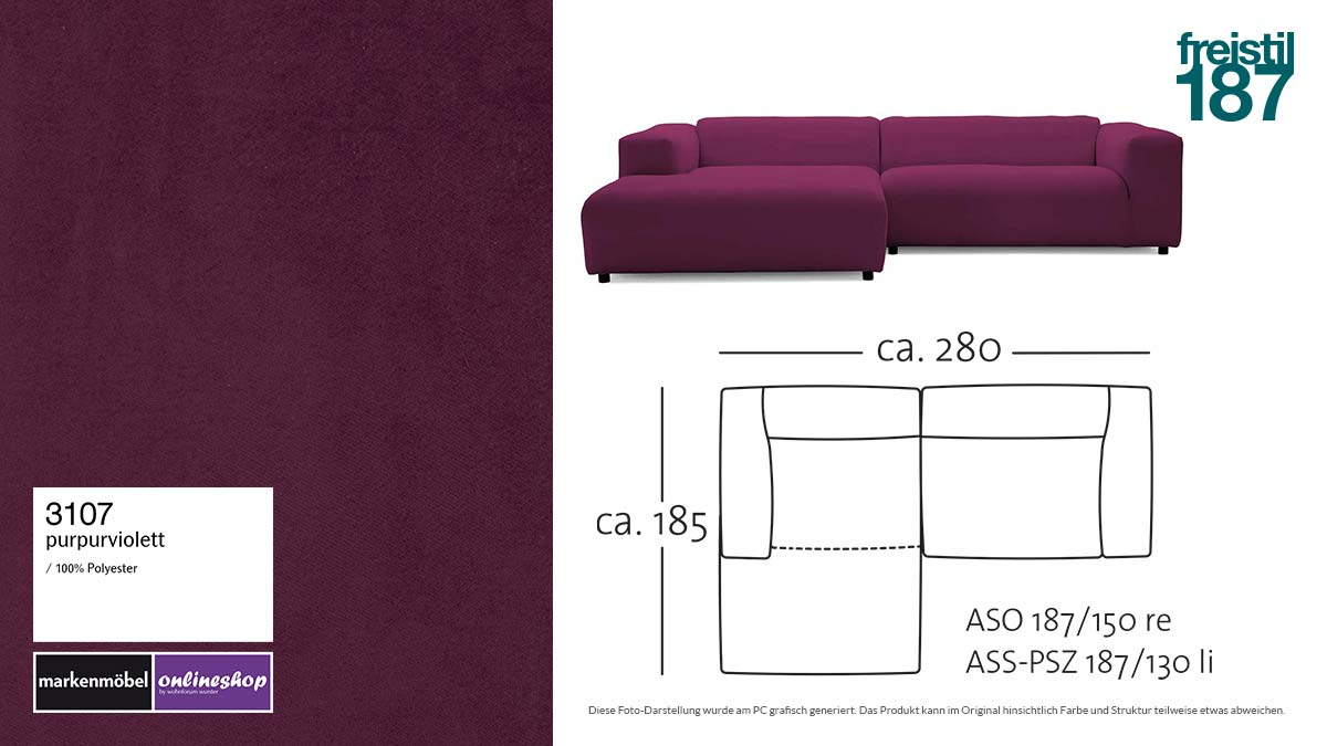 #3107 purpurviolett - freistil187 ROLF BENZ Sofa mit Longchair links