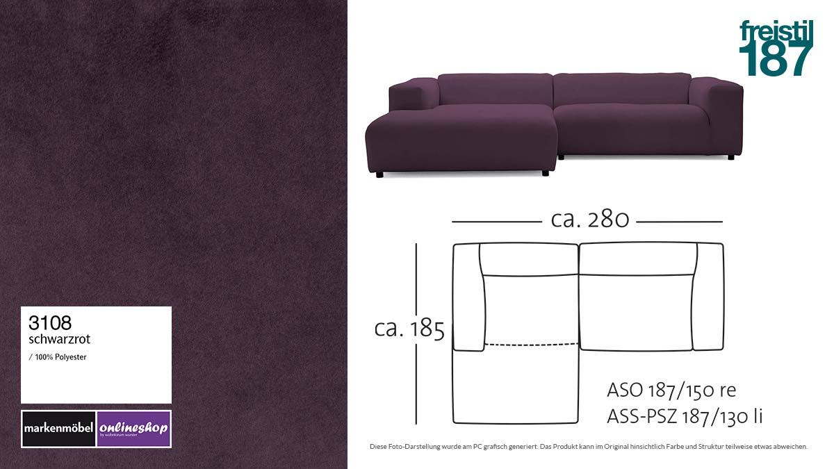 #3108 schwarzrot - freistil187 ROLF BENZ Sofa mit Longchair links