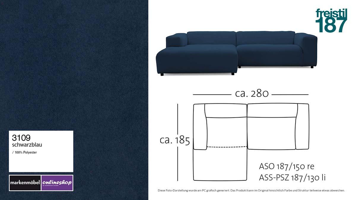 #3109 schwarzblau - freistil187 ROLF BENZ Sofa mit Longchair links