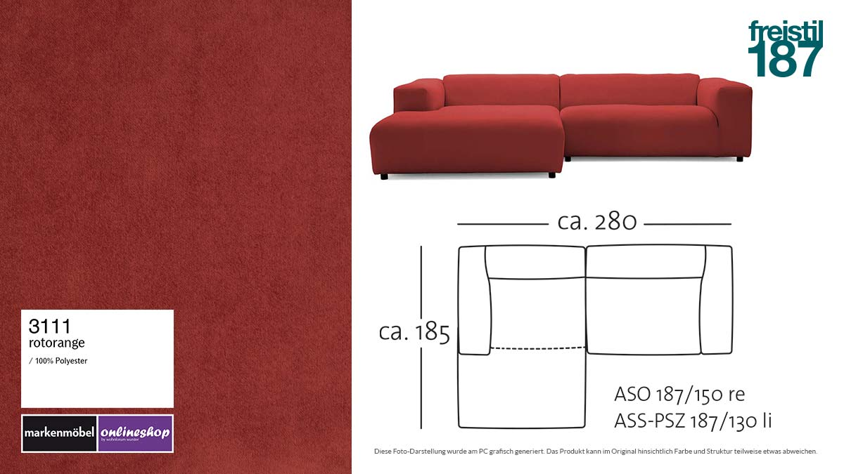 #3110 sandgelb - freistil187 ROLF BENZ Sofa mit Longchair links