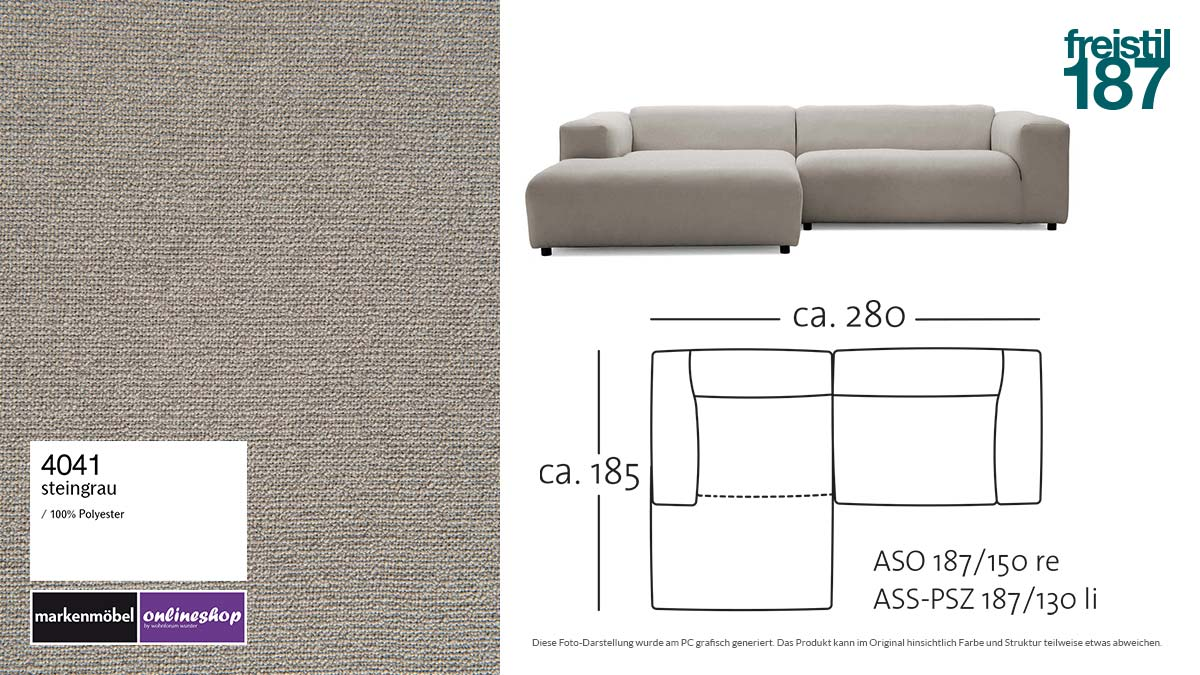 #4041 steingrau - freistil 187 Lounge-Sofa mit Longchair links