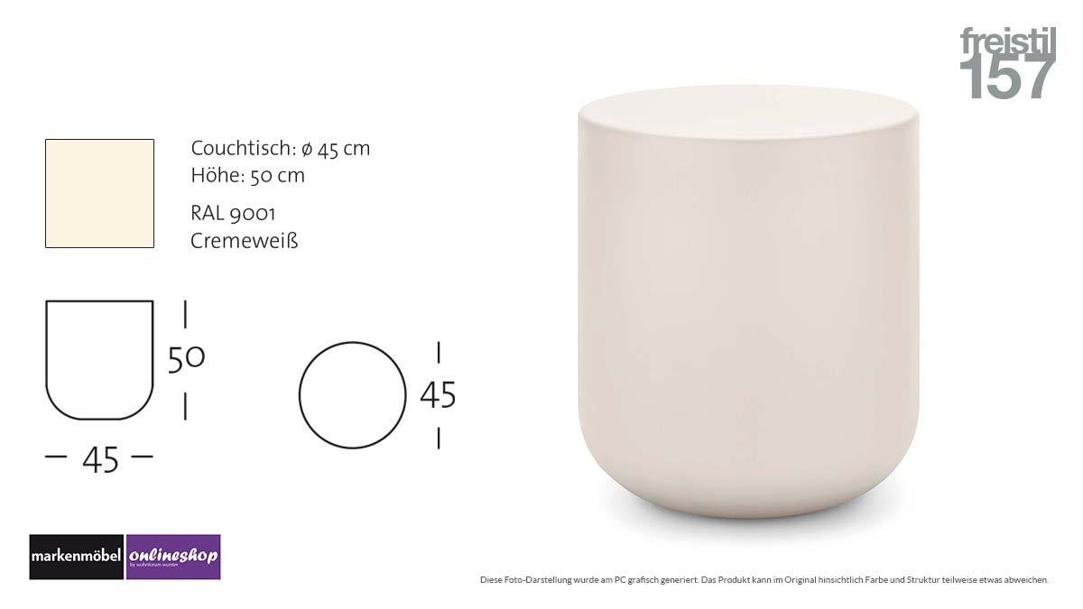 freistil 157 Couchtisch in RAL 9001 Cremeweiß-Durchmesser 45 cm, Höhe 50 cm