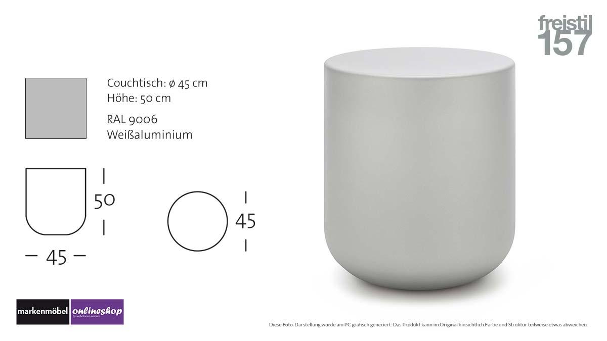 freistil 157 Couchtisch in RAL 9006 Weißaluminium - Durchmesser 45 cm, Höhe 50 cm