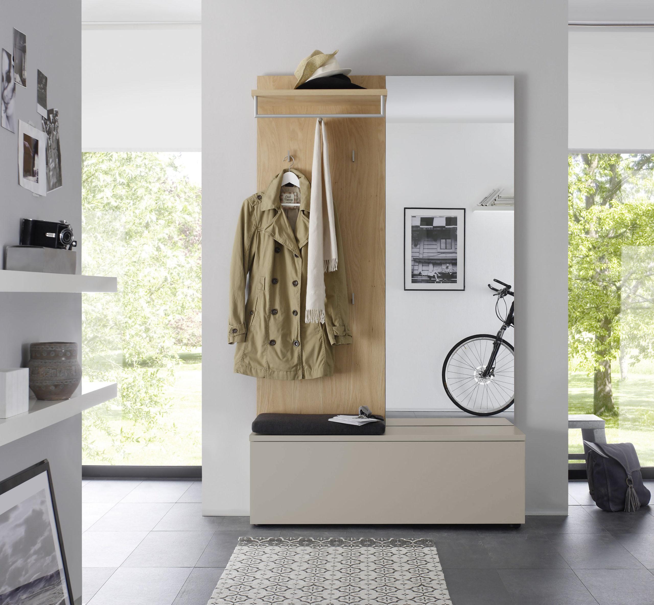 Sudbrock TANDO Garderobe in der Ausführung Ethno Eiche, Lack muschelgrau #405