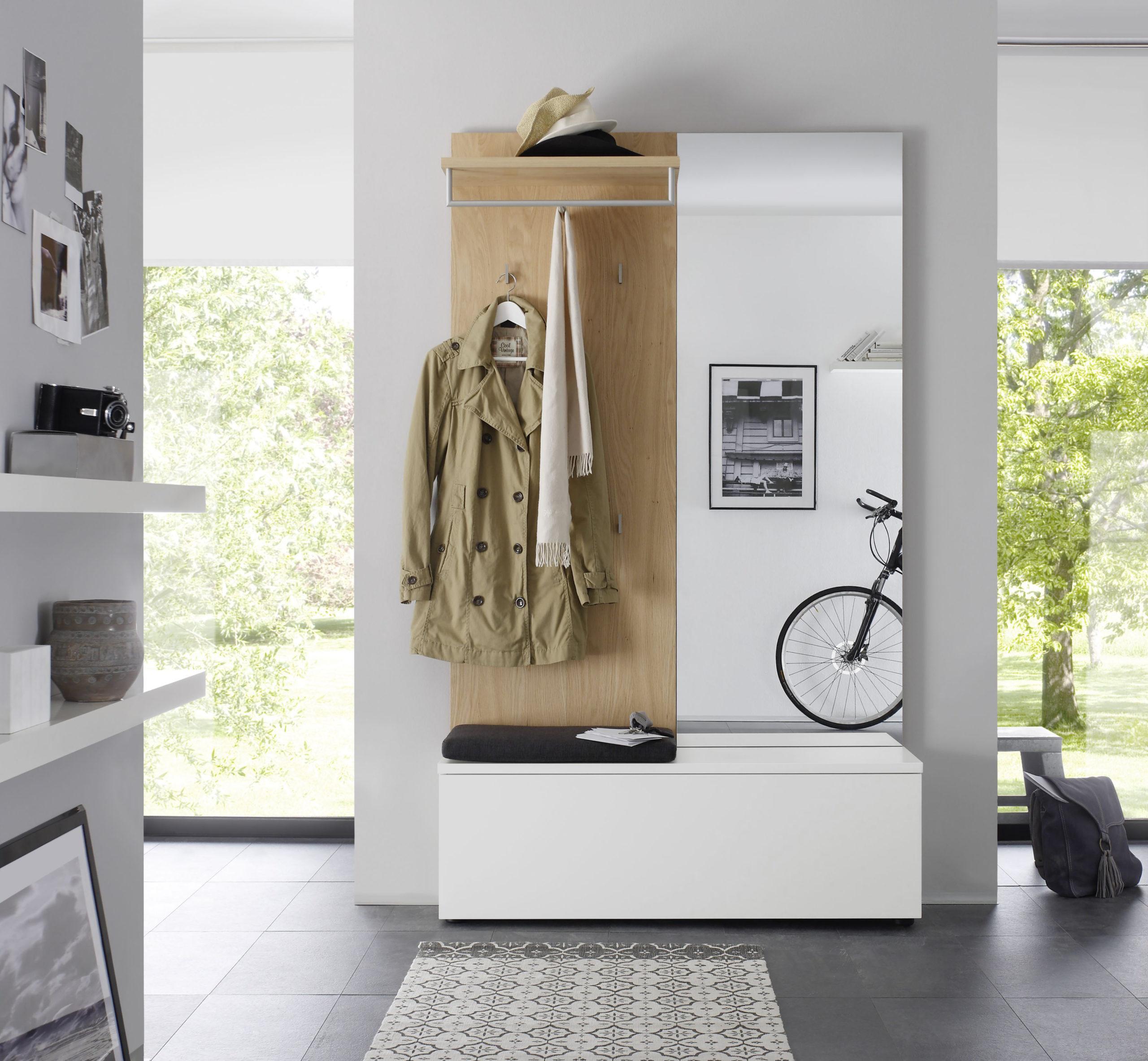 Sudbrock TANDO Garderobe in der Ausführung Ethno Eiche, Lack steingrau #407