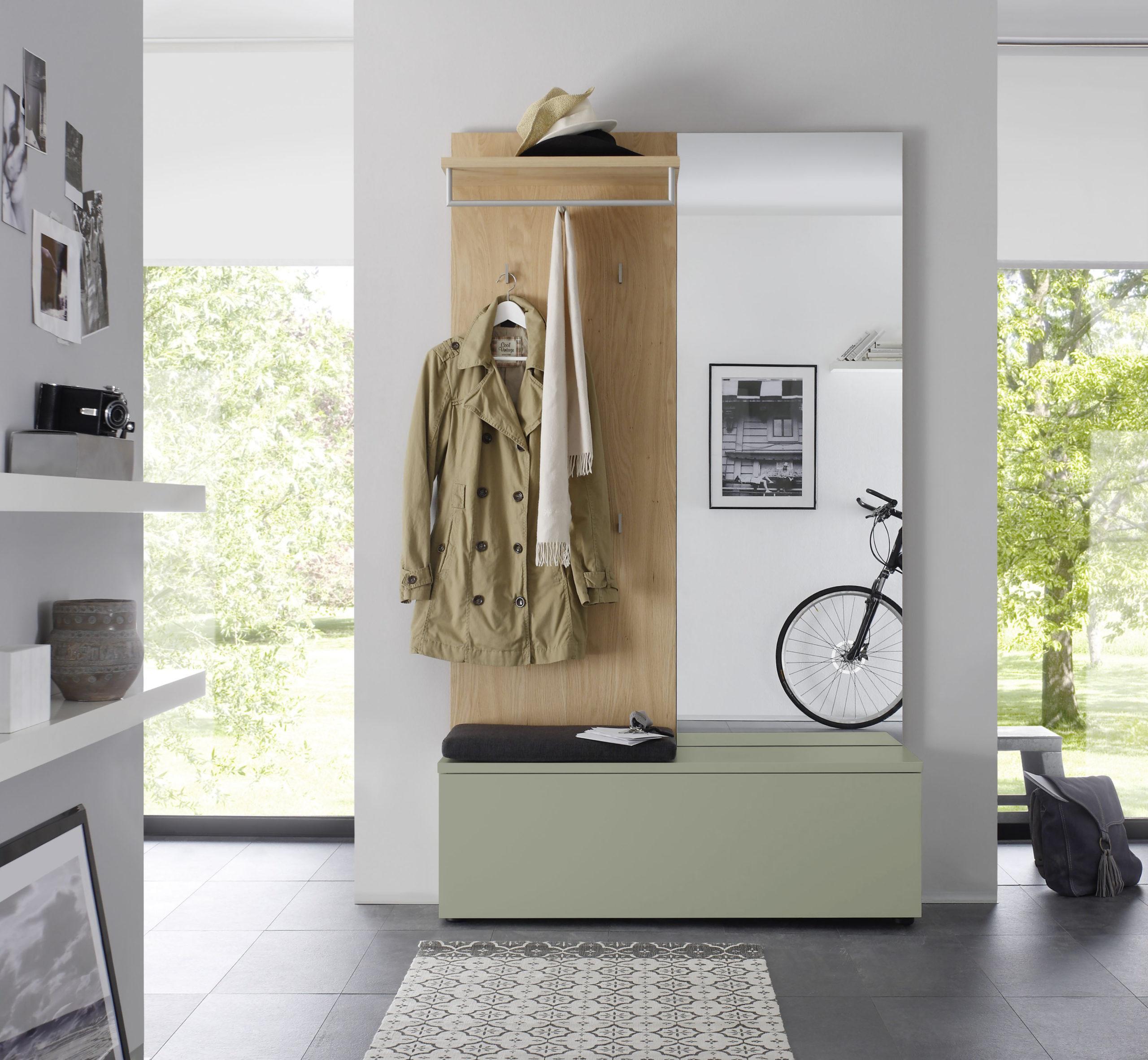 Sudbrock TANDO Garderobe in der Ausführung Ethno Eiche, Lack salbei #417