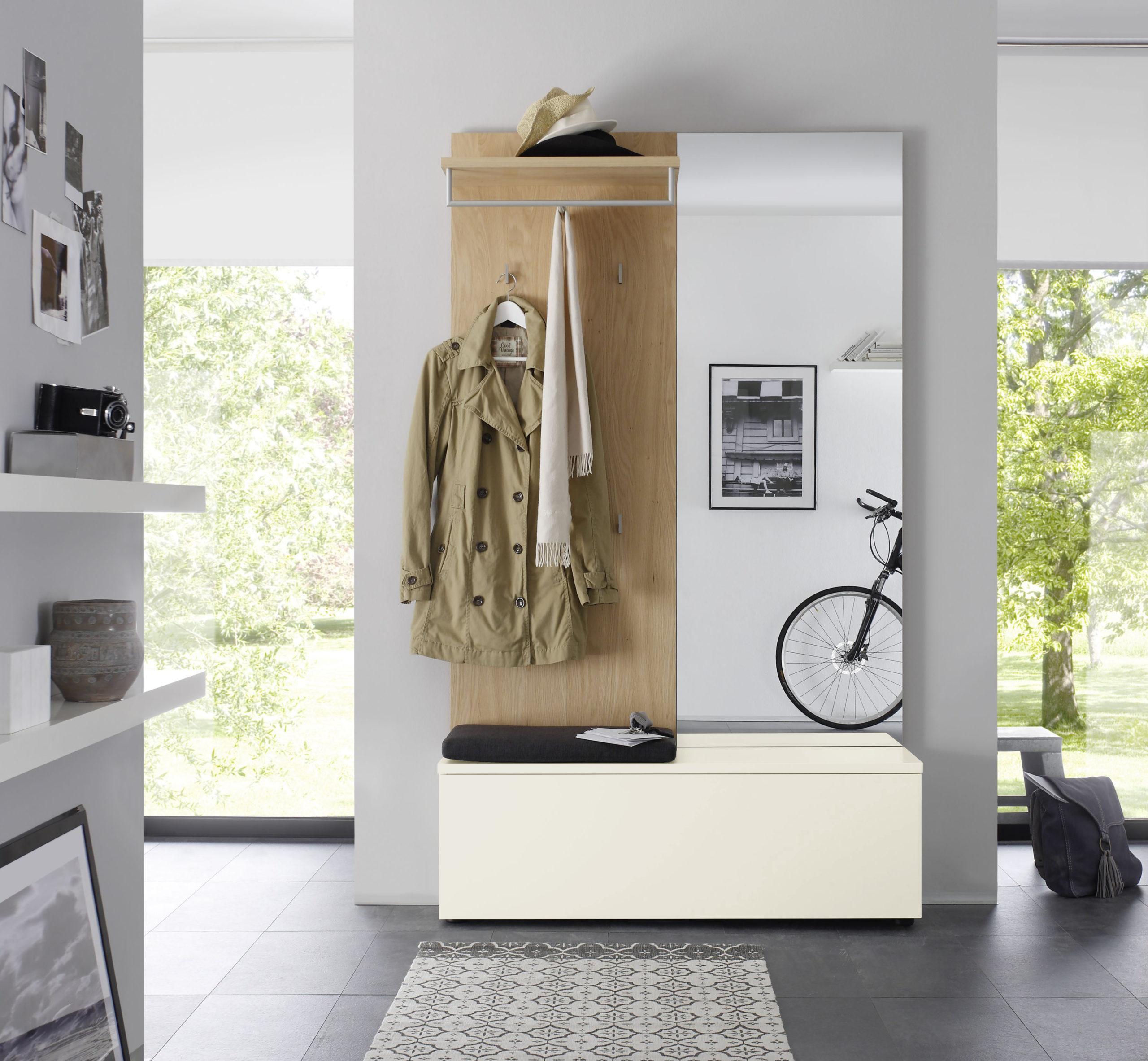 Sudbrock TANDO Garderobe in der Ausführung Ethno Eiche, Lack blütenweiß #419