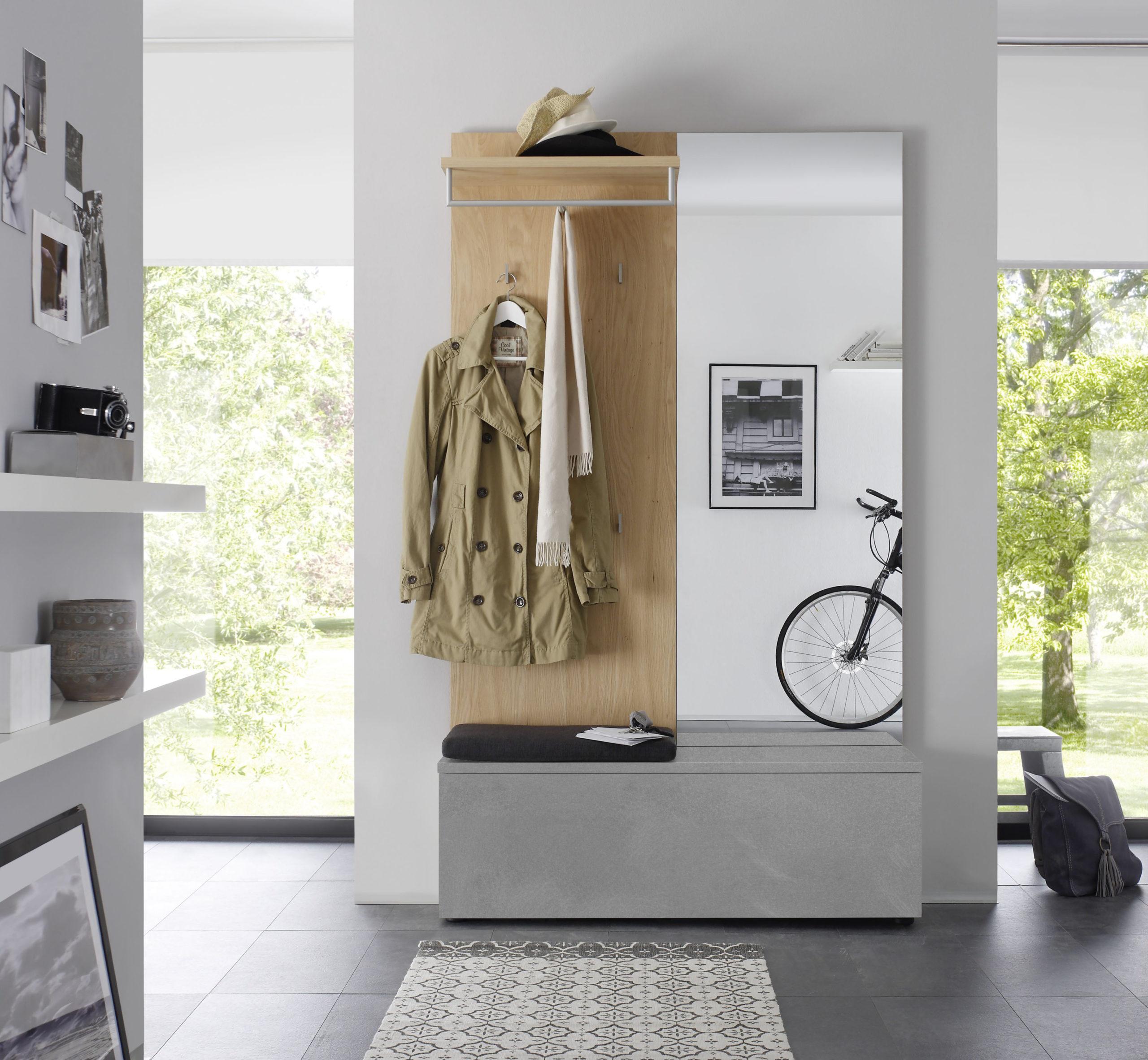 Sudbrock TANDO Garderobe in der Ausführung Ethno Eiche, Stahl hell lackiert gebürstet #422