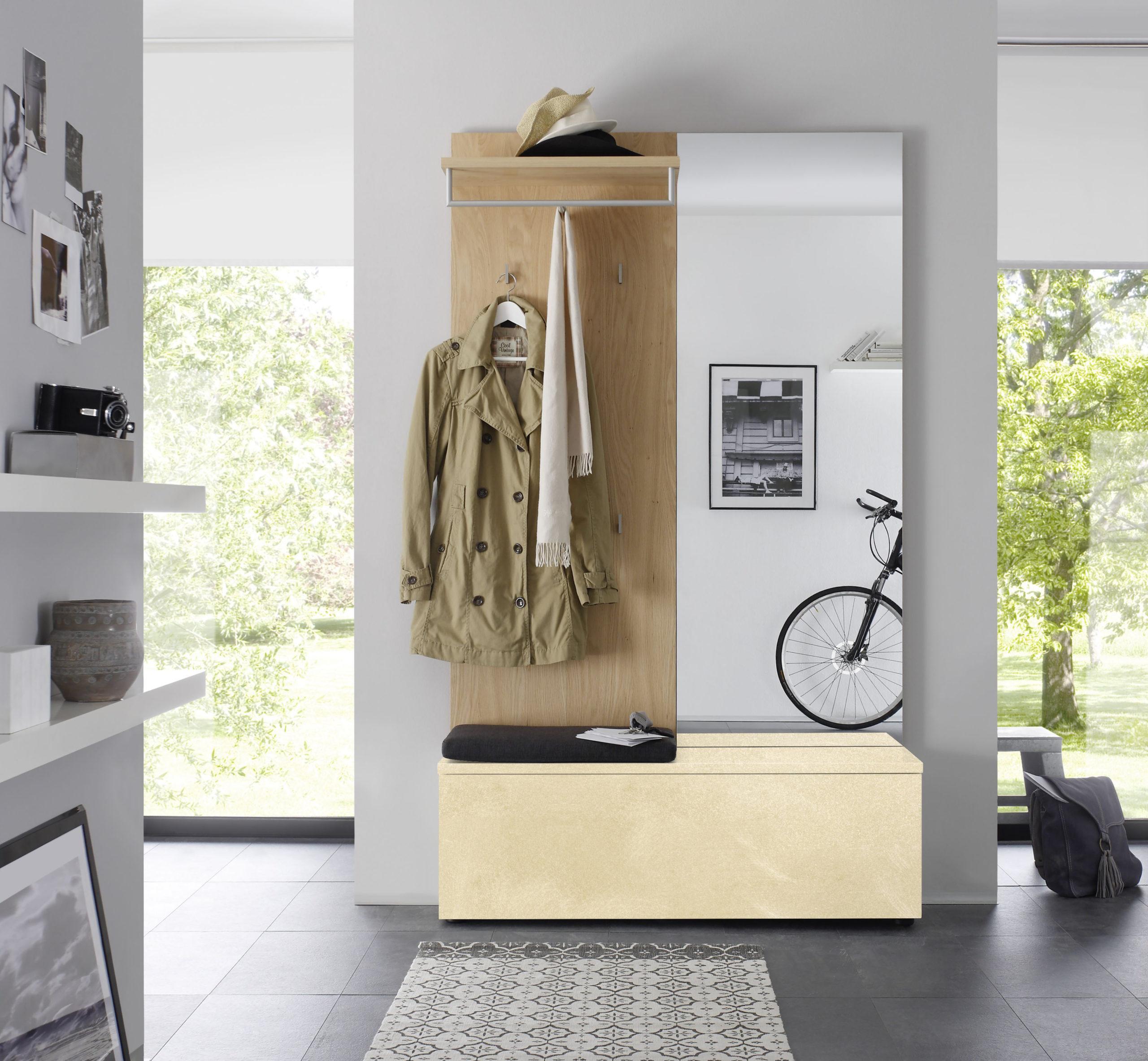 Sudbrock TANDO Garderobe in der Ausführung Ethno Eiche, Gold lackiert gebürstet #423
