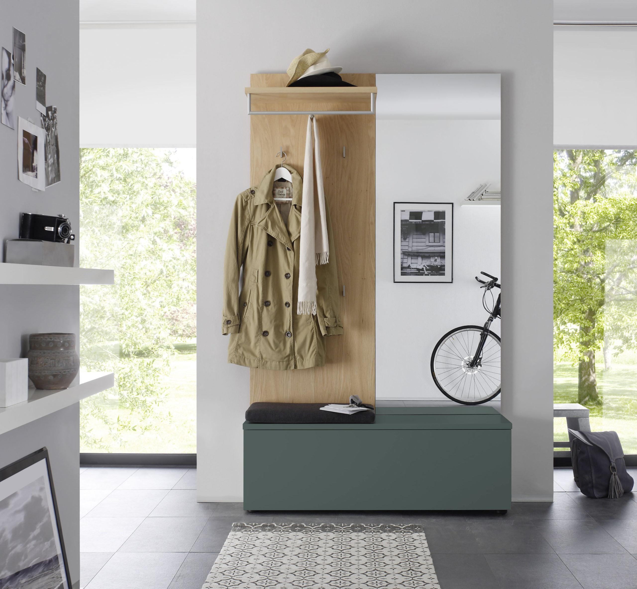 Sudbrock TANDO Garderobe in der Ausführung Ethno Eiche, Lack blaugrün #433